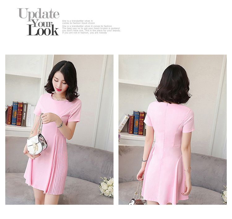 DRESS PESTA WARNA PINK LENGAN PENDEK 2017