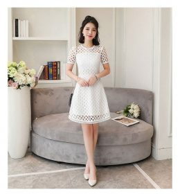 JUAL DRESS PESTA PUTIH MOTIF OVAL TERBARU