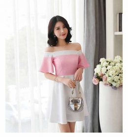 DRESS PESTA MODEL SABRINA PINK CANTIK MODIS