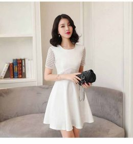 DRESS PESTA PUTIH POLOS MODEL ELEGANT