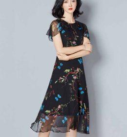 DRESS PESTA WANITA MOTIF ELEGANT TERBARU KOREA