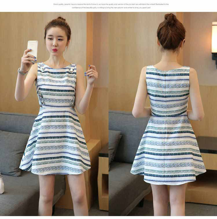 DRESS SIMPLE STRIPE LENGAN BUNTUNG 2017 KOREA