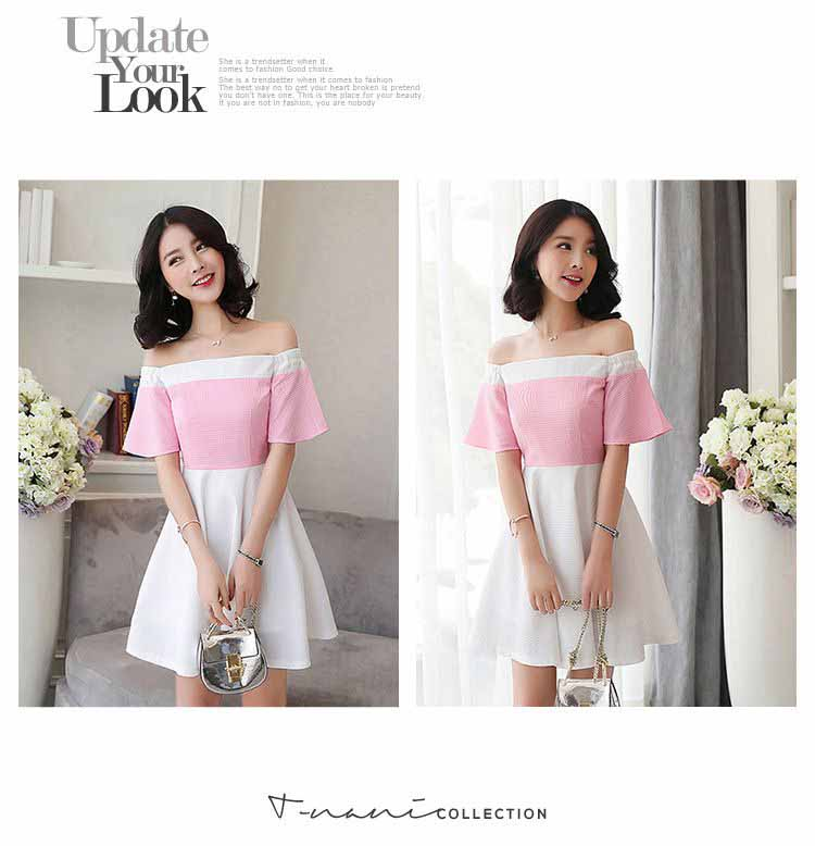 JUAL DRESS PESTA MODEL SABRINA PINK CANTIK