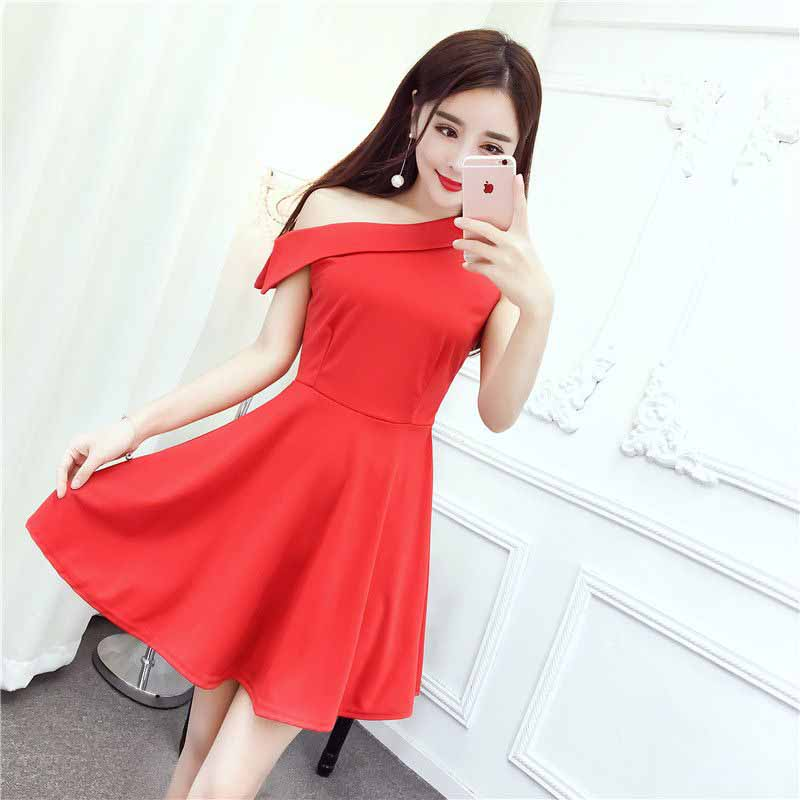 JUAL DRESS PESTA STRAP WARNA MERAH IMPORT