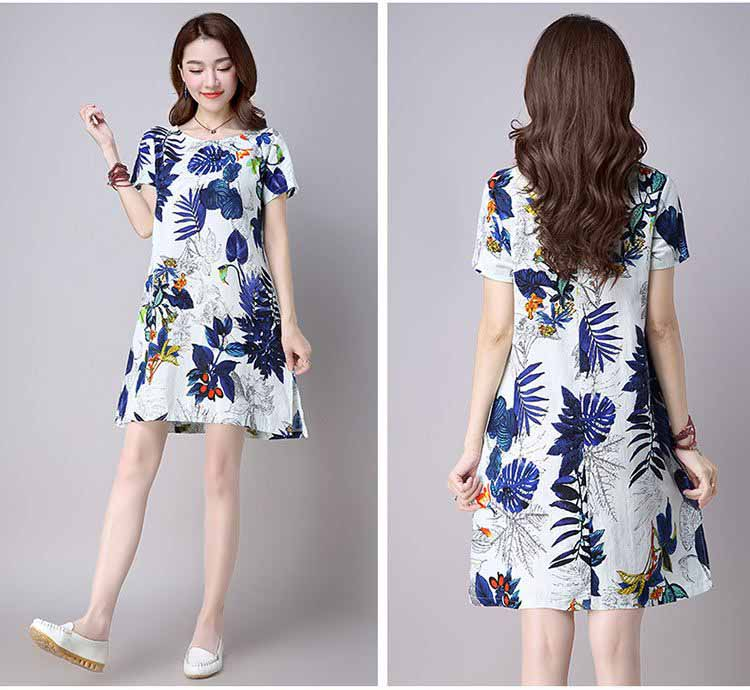 JUAL DRESS WANITA MOTIF DAUN SIMPLE 2017