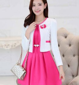 JUAL DRESS WANITA KOREA KOMBINASI BLAZER IMPORT