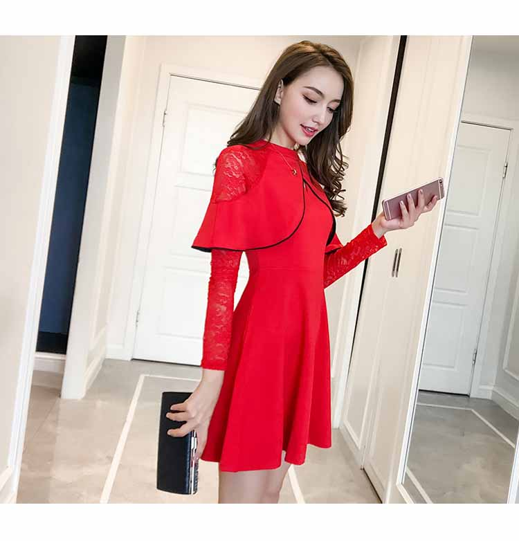 DRESS LENGAN PANJANG MERAH CANTIK 2018 MODIS