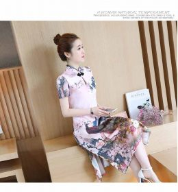 DRESS CHEONGSAM IMLEK LENGAN PENDEK 2018 MODIS