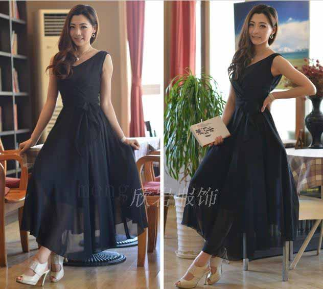 LONG DRESS HITAM LENGAN BUNTUNG TERBARU KOREA