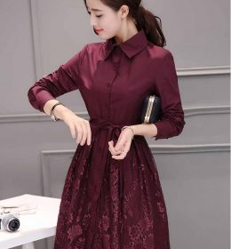 DRESS WANITA RENDA LENGAN PANJANG 2018 KOREA