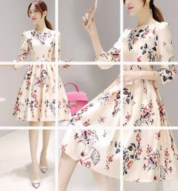 DRESS PESTA MOTIF BUNGA IMPORT 2018