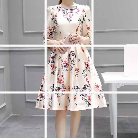 DRESS PESTA MOTIF BUNGA IMPORT 2018 TERBARU