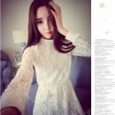 DRESS RENDA PUTIH IMPORT LENGAN PANJANG 2016