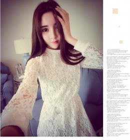 DRESS RENDA PUTIH IMPORT LENGAN PANJANG 2016