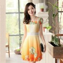 MINI DRESS KOREA BUNGA TERBARU ORANGE