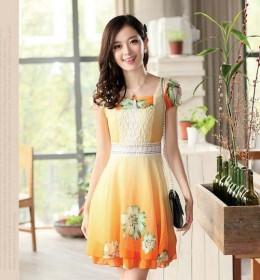MINI DRESS KOREA BUNGA TERBARU ORANGE