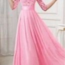 JUAL LONG DRESS MODEL GAUN PINK IMPORT 2016