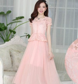 LONG DRESS PESTA BROKAT CANTIK PINK