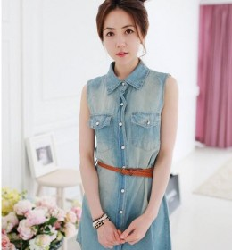 DRESS IMPORT JEANS LENGAN BUNTUNG