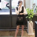 DRESS LENGAN PANJANG PUTIH HITAM IMPORT