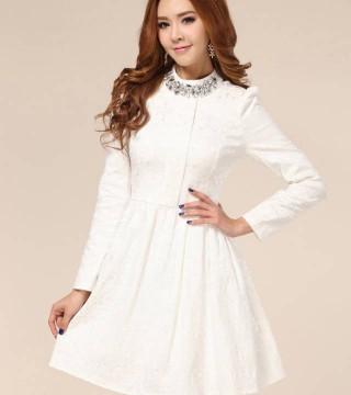 Gaun Pesta Malam Putih Lengan Panjang Model Terbaru Jual Murah
