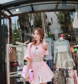 MINI DRESS PINK MODEL KOREA TERBARU