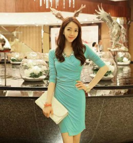 DRESS KOREA KERAH V MODEL TERBARU 2015