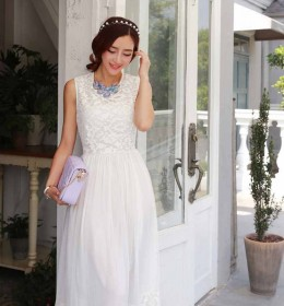 LONG DRESS IMPORT PUTIH CANTIK