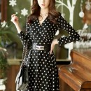 DRESS POLKADOT HITAM PUTIH PANJANG