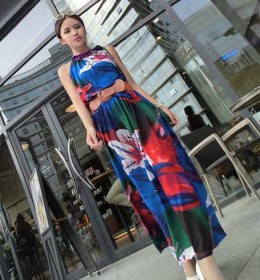 LONG DRESS MOTIF BUNGA CANTIK TERBARU