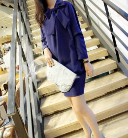 JUAL DRESS WANITA MODEL KOREA BIRU 2015