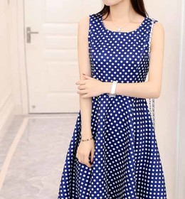 DRESS POLKADOT CANTIK SIMPLE 2016 KOREA
