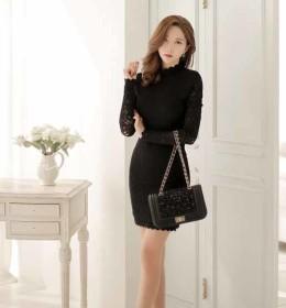 dress-renda-lengan-panjang-hitam-2016-fashion