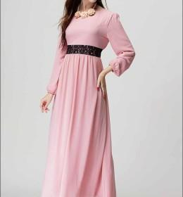 long-dress-lengan-panjang-pink-2016-korea