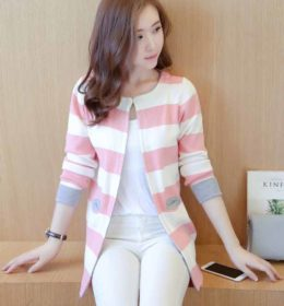 CARDIGAN GARIS-GARIS SIMPLE TRENDY 2017 TERBARU