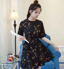DRESS WARNA HITAM MOTIF BUNGA CANTIK