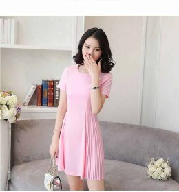 DRESS PESTA WARNA PINK LENGAN PENDEK