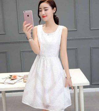 Dress Pesta Warna Putih Motif Elegant Model Terbaru Jual Murah