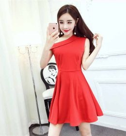 DRESS PESTA STRAP WARNA MERAH IMPORT 2017