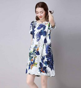 DRESS WANITA MOTIF DAUN SIMPLE 2017