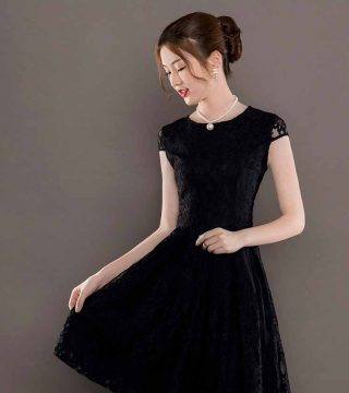 Dress Pesta Brokat Lengan Pendek 2018 Model Terbaru Jual Murah